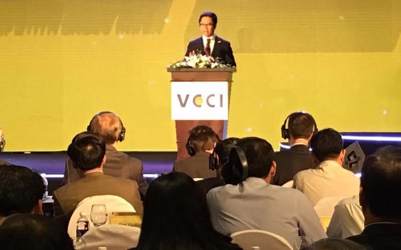 """<span style=""""font-family: 'Times New Roman'; font-size: 15px;"""">Lễ công bố báo cáo thường niên chỉ số PCI do Phòng Thương mại và công nghiệp Việt Nam (VCCI) cùng cơ quan phát triển quốc tế Hoa Kỳ (USAID) tổ chức sáng 14/3 tại Hà Nội.</span>"""