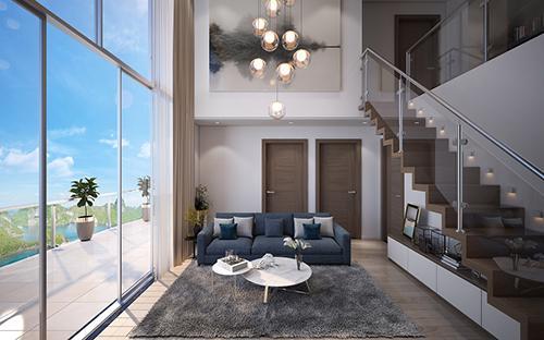 Mỗi căn hộ thông tầng có diện tích dao động khoảng 49m2 - 144m2, sở hữu kiểu thiết kế mới lạ.
