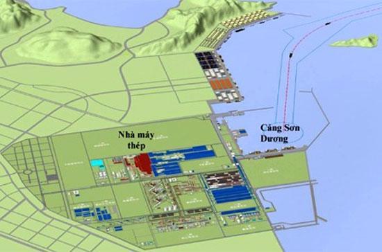 Phối cảnh tổ hợp cảng biển và luyện thép Formosa tại Hà Tĩnh.