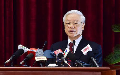 Tổng bí thư Nguyễn Phú Trọng phát biểu bế mạc hội nghị Trung ương 6 - Ảnh: TTXVN.<br>