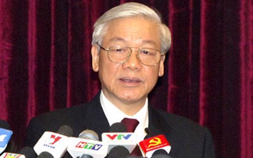 Tổng Bí thư Nguyễn Phú Trọng phát biểu khai mạc Hội nghị Trung ương 7 (khoá XI). <br>