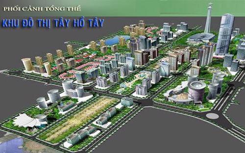 Phối cảnh tổng thể dự án khu đô thị Tây Hồ Tây.<br>