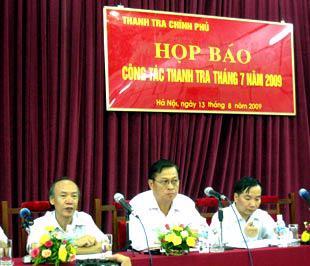 Buổi họp báo của Thanh tra Chính phủ sáng 13/8.