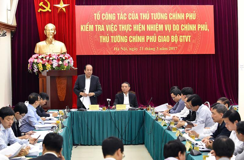 Tổ công tác đề nghị Bộ Giao thông Vận tải giải trình, làm rõ 9 vấn đề  Thủ tướng lưu ý, sau buổi kiểm tra có kế hoạch xử lý cụ thể từng vấn đề.