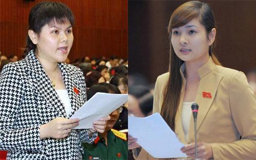 Đại biểu Quốc hội Trương Thị Thu Trang và Vũ Thị Hương Sen.<br>