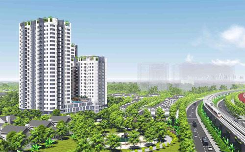 Phối cảnh dự án Hưng Phát Silver Star mặt tiền Nguyễn Hữu Thọ (hiện dự án đã xây dựng đến sàn tầng 6).