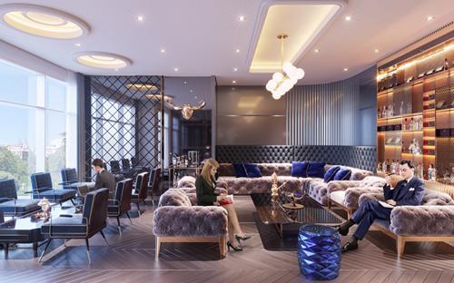 Phối cảnh minh họa Cigar Lounge & Wine Bar sang trọng.