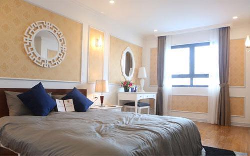 Hình ảnh phòng ngủ master căn hộ mẫu Hateco.