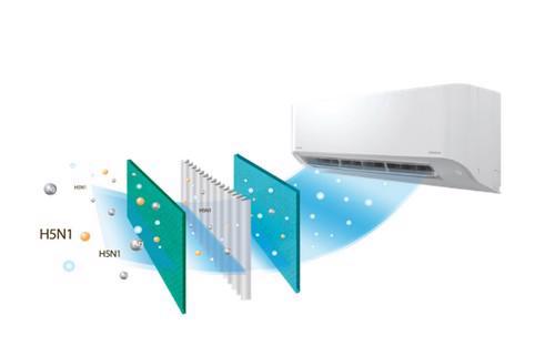 Công nghệ Toshiba IAQ chứa 2 tác nhân kháng thể enzym và tinh thể bạc có  khả năng ngăn chặn sự phát triển của vi khuẩn và virus, khiến không khí  luôn trong lành, sạch sẽ.