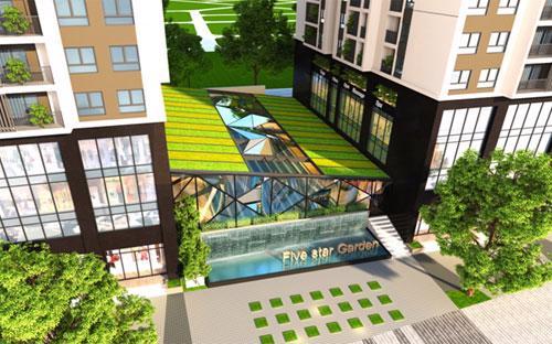 Bể bơi bốn mùa tại dự án Five Star Garden.