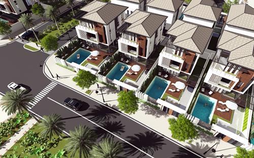 Phối cảnh phân khu SunRiver Villa thuộc dự án Elysia Complex City.