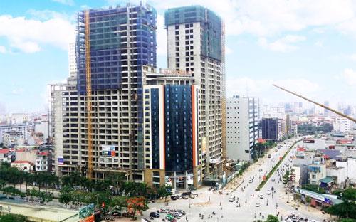 Toàn bộ 4 toà nhà của dự án Sun Square đã được cất nóc xong vào thời điểm trung tuần tháng 7.