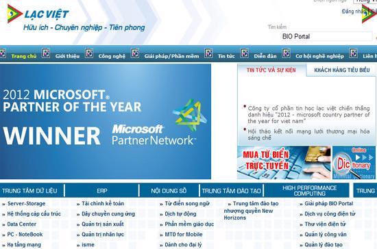 """Microsoft vinh danh Công ty cổ phần tin học Lạc Việt là """"Đối tác của năm"""" của Microsoft."""