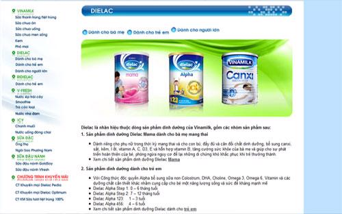 Thông tin&nbsp; sữa Dielac trên trang web của Vinamilk.<br>