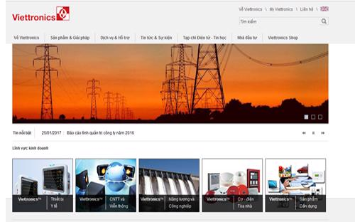 Trang web của Tổng công ty Cổ phần Điện tử và Tin học Việt Nam (Viettronics).