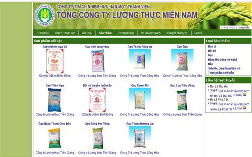 Trang web của Tổng công ty Lương thực miền Nam (Vinafood 2).