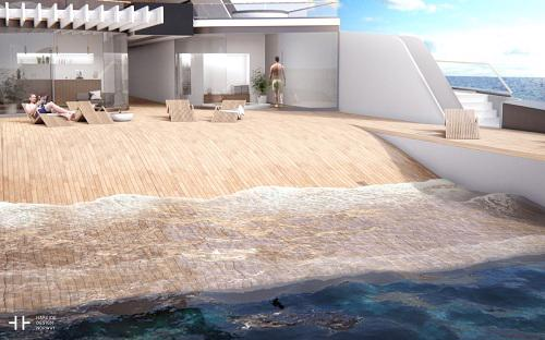 """<p class=""""MsoNormal"""">Được thiết kế bởi hãng Hareide Design của Na Uy, điểm đặc biệt của du thuyền này là phần sau tàu được thiết kế sát mặt biển, tạo thành bãi biển riêng độc đáo ngay trên boong - Video: Business Insider.</p>"""