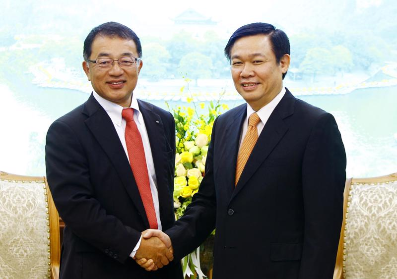 Phó thủ tướng Vương Đình Huệ tiếp Phó chủ tịch Tập đoàn Kirin.<br>