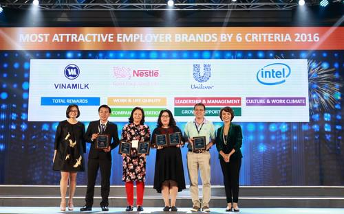 Ông Nguyễn Quốc Việt (thứ hai từ trái sang), Trưởng Bộ phận Tuyển dụng và Đào tạo, Vinamilk đại diện công ty nhận chứng nhận thứ 2 trong top 100 nơi làm việc tốt nhất Việt Nam.