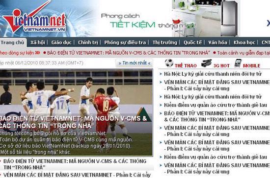 Trang chủ VietNamNet bị hacker tấn công hôm 6/12/2010.