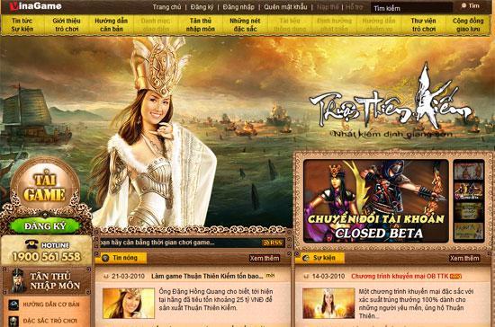 Website của game Thuận Thiên Kiếm.