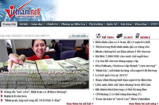 Trang chủ của báo VietNamNet sáng nay - Ảnh chụp màn hình lúc 10h52 phút.