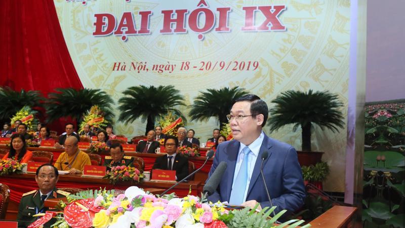 Phó Thủ tướng Chính phủ Vương Đình Huệ phát biểu tại đại hội, chiều 20/9. Ảnh - Quang Vinh.