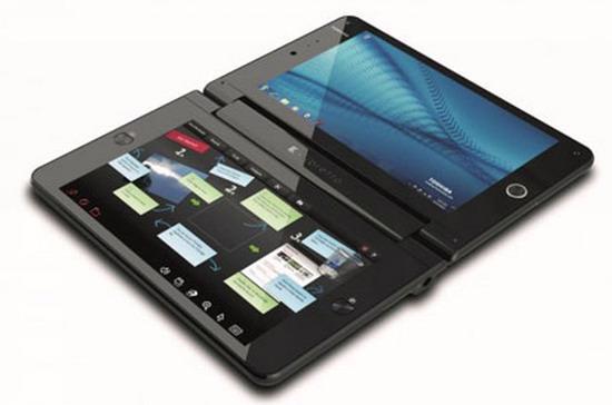 Laptop này có hai màn hình cảm ứng - Ảnh: Geek.