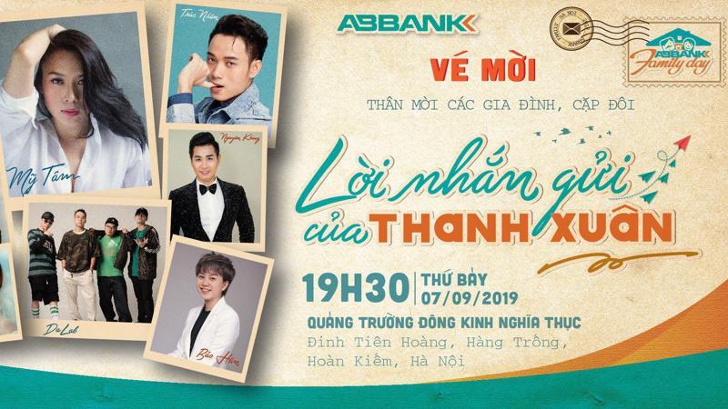 Đây sẽ là món quà tinh thần, một dịp vui chơi cuối tuần đầy ý nghĩa mà ABBank dành tặng cho các gia đình, các bạn trẻ của Hà Nội và các tỉnh lân cận vào dịp đầu Thu 2019.