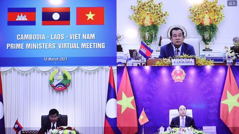 Tọa đàm giữa 3 Thủ tướng ngày 10/3 - Ảnh: Bộ Ngoại giao