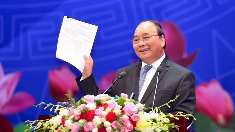 Thủ tướng Chính phủ Nguyễn Xuân Phúc tại Hội nghị của Thủ tướng Chính phủ với Doanh nghiệp lần thứ hai năm 2017.