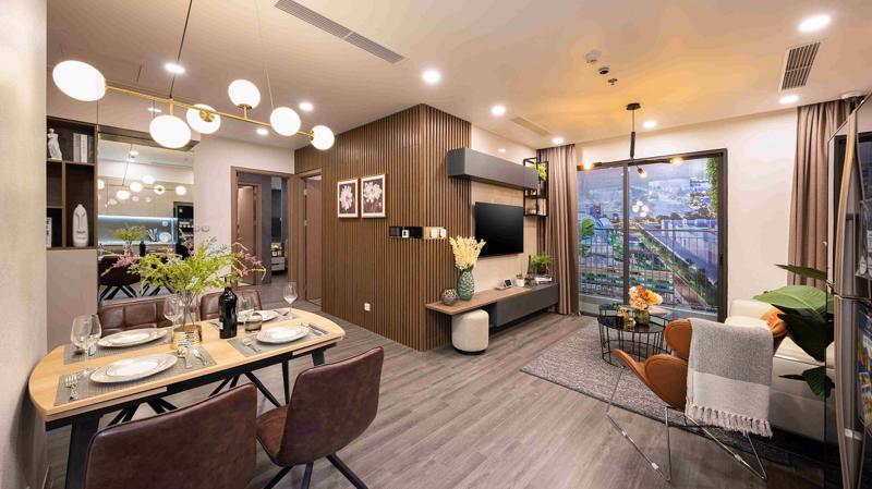 Khu vực nối liền phòng khách, phòng bếp của căn hộ Ruby 2 phòng ngủ mở ra không gian sinh hoạt chung rộng rãi.