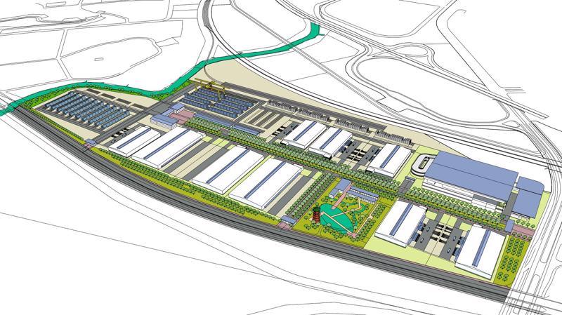 """Phối cảnh tổng thể dự án """"Trung tâm Logistics ICD Vĩnh Phúc"""" do Liên danh Tập đoàn T&T Group (Việt Nam) - Tập đoàn YCH - YCH Holdings (Singapore) làm chủ đầu tư."""