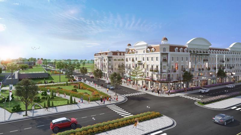 Tiểu khu L'Opera nằm bên cạnh quảng trường Sun Carnival Plaza.