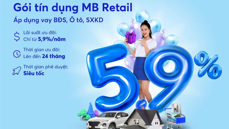 """MB triển khai Gói tín dụng ưu đãi """"MB Retail năm 2021"""" áp dụng cho khách hàng cá nhân đến hết 30/6/2021."""