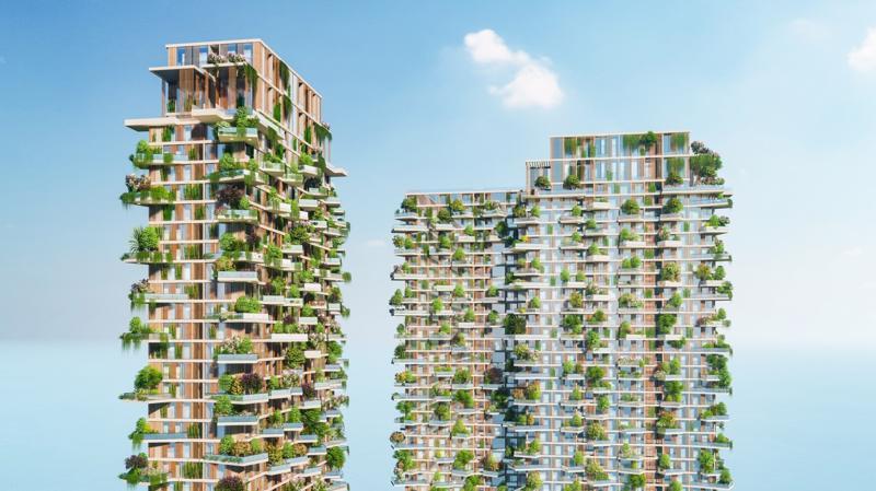 """""""Tại Ecopark, khi thiết kế Solforest, nhóm chuyên gia cây xanh của Ecopark đã phải nghiên cứu, thử nghiệm hàng tháng trời mới tìm ra loại cây, loại giá thể và phương án chăm sóc 400 khu vườn trên cao của 2 toà tháp Vertical Forest (rừng thẳng đứng) Solforest."""""""