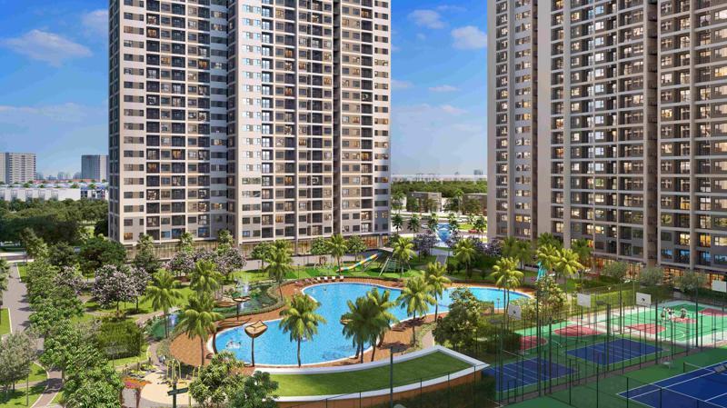 Bể bơi phong cách resort hơn 1000m2 bao quanh bởi hồ cảnh quan xanh của các sân thể thao, thảm cỏ, cây xanh trong nội khu mang không gian thư giãn.