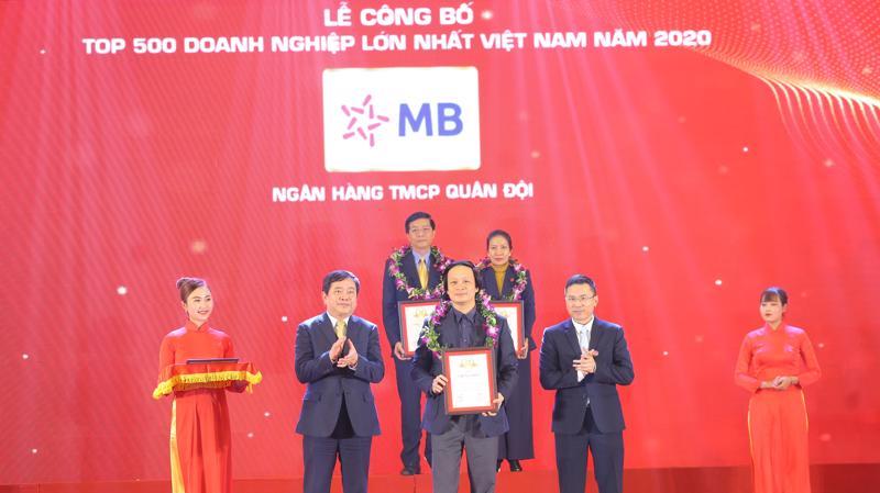 MB đứng vị trí thứ 30 trong Top 500 Doanh nghiệp lớn nhất Việt Nam năm 2020, tăng 7 bậc so với năm 2019.
