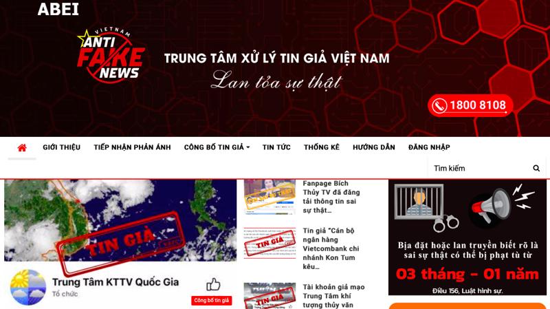 Giao diện trang nhận diện tin giả tingia.gov.vn - ảnh chụp màn hình.