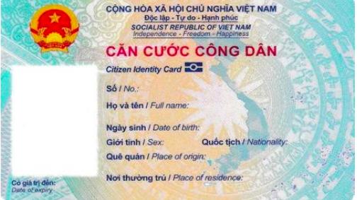Mặt trước của thẻ căn cước công dân gắn chip điện tử - Ảnh: Bộ Công an.