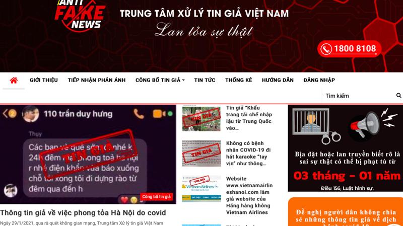 Hàng loạt tin giả liên quan đến dịch Covid-19 được Trung tâm Xử lý tin giả Việt Nam phát hiện trong những ngày qua - ảnh chụp màn hình.