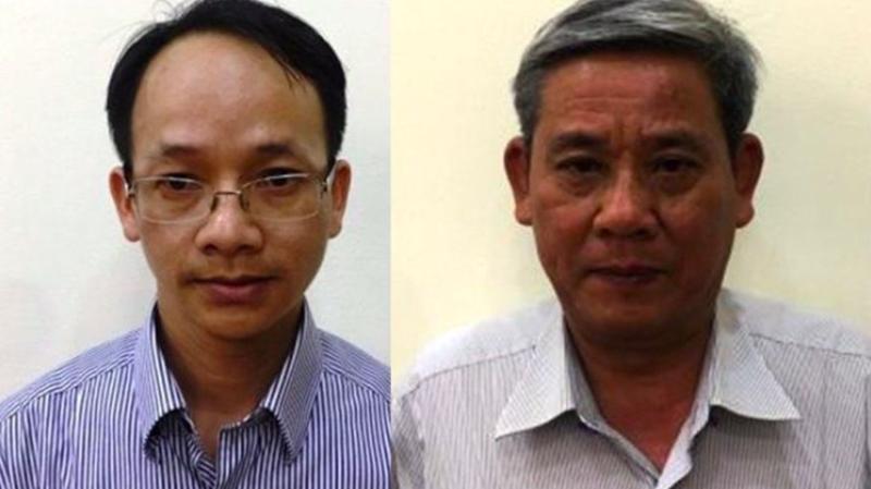 Hai bị can Nguyễn Thanh Chương và Lê Văn Thanh (từ trái qua) - Ảnh: Bộ Công an.