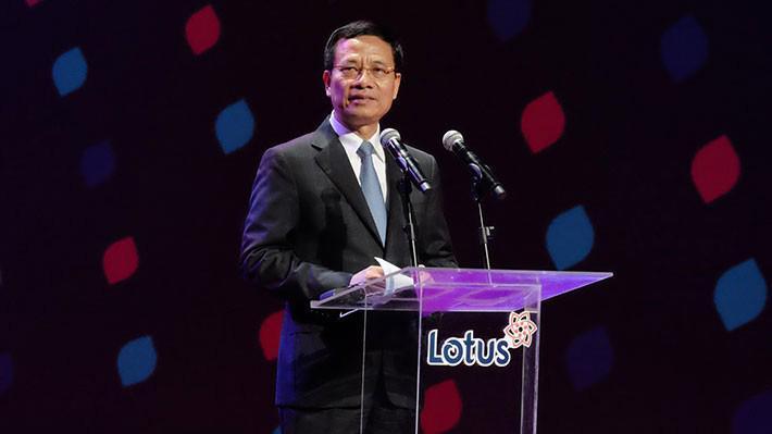Bộ trưởng Bộ Thông tin và Truyền thông Nguyễn Mạnh Hùng phát biểu tại lễ ra mắt mạng xã hội Lotus, tối 16/9.