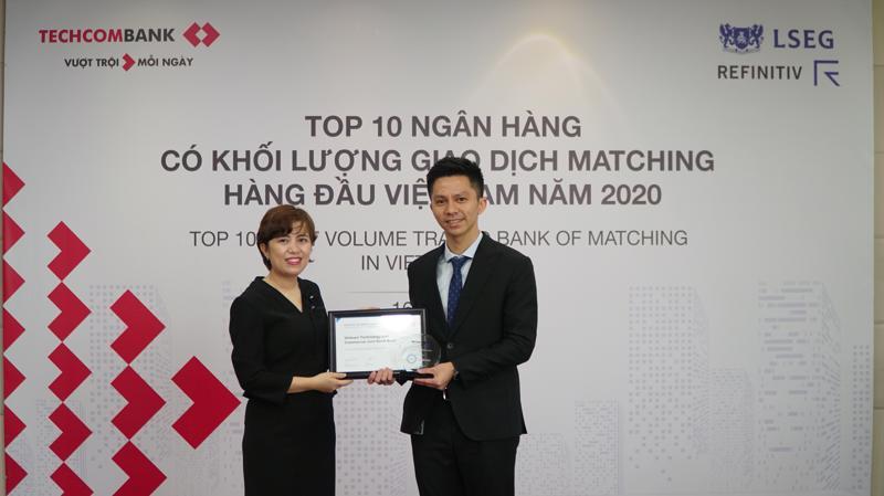 Techcombank được Refinitiv vinh danh Top 4 Ngân hàng giao dịch Matching lớn nhất thị trường ngoại hối Việt Nam.