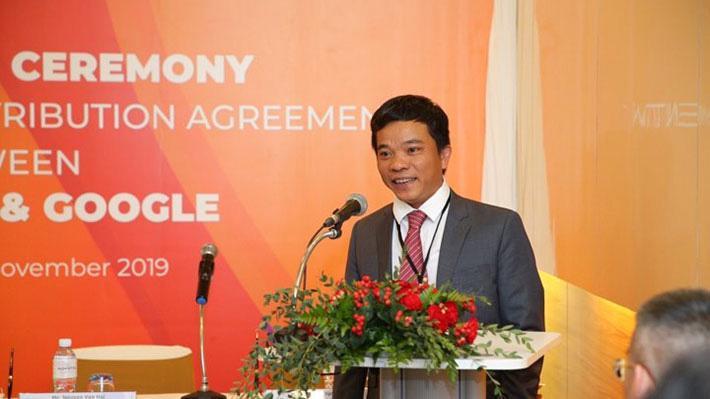 Ông Nguyễn Văn Hải, cựu Phó tổng giám đốc VNTP-VinaPhone phát biểu tại lễ ký kết giữa VinSmart với Google - Ảnh: Vingroup.