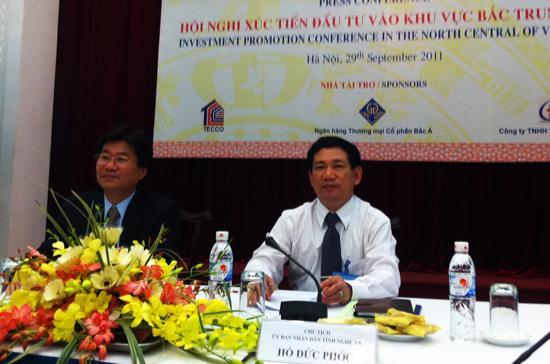 Buổi họp báo giới thiệu chương trình Hội nghị xúc tiến đầu tư vào Bắc Trung Bộ - Ảnh: Anh Quân.