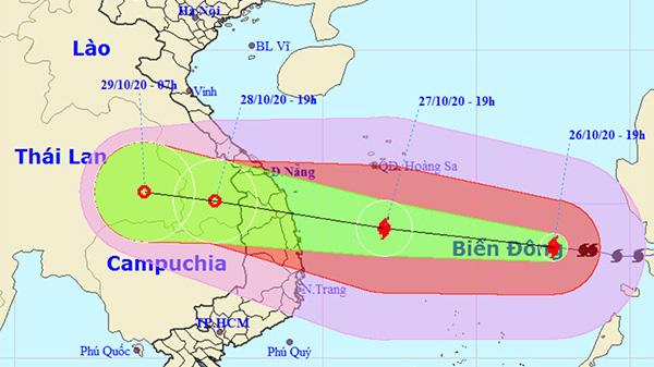 Bão bắt đầu gây gió mạnh trên đất liền từ tối và đêm nay (27/10); thời gian có gió mạnh nhất trên đất liền từ sáng sớm đến chiều tối ngày 28/10.