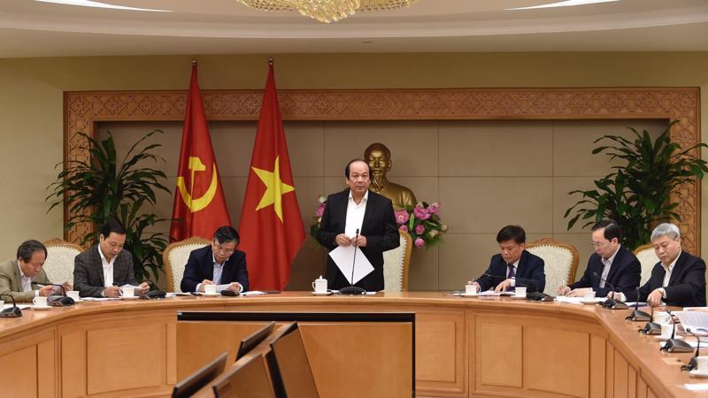 Bộ trưởng, Chủ nhiệm Văn phòng Chính phủ Mai Tiến Dũng, Tổ trưởng Tổ công tác của Thủ tướng chủ trì buổi kiểm tra 16 Bộ trong tháng 2/2018.