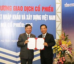 Ngày 5/9/2008, Vinaconex thực hiện niêm yết cổ phiếu tại Sở Giao dịch Chứng khoán Hà Nội với mã VCG.