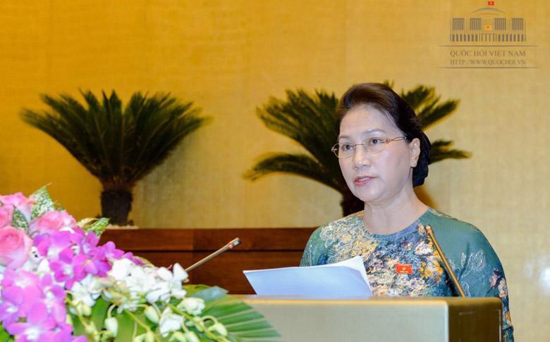 Chủ tịch Quốc hội Nguyễn Thị Kim Ngân phát biểu bế mạc kỳ họp thứ ba của Quốc hội.